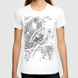 Copenhagen Map Schwarzplan Only Buildings T-shirt