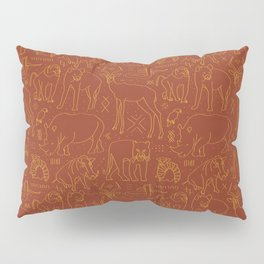 African Animal Mudcloth in Rust + Ochre Pillow Sham
