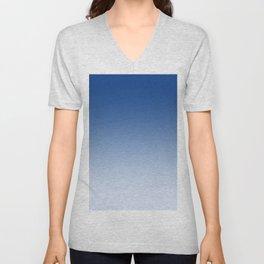 Blue to Pastel Blue Horizontal Linear Gradient Unisex V-Neck