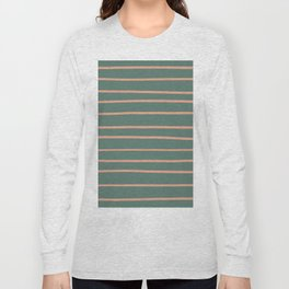 Earthen Trail Pink 4-26 Hand Drawn Horizontal Lines on Thistle Green 22-18 Long Sleeve T-shirt