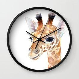 Baby Giraffe Cute Animal Watercolor Wall Clock