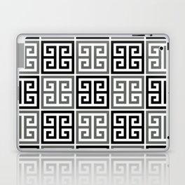 Gray Black And White Greek Key Pattern Laptop & iPad Skin