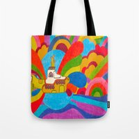 yellow submarine Tote Bags featuring Yellow Submarine by Jaime Viens