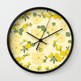 Flowers, Petals, Leaves, Blossoms - Yellow Green Wall Clock