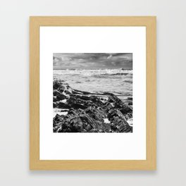 Stormy over Crackington Framed Art Print