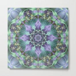 Ribbon Mandala in Blue and Purple Metal Print