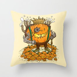 The Steampunk Pumpking Throw Pillow