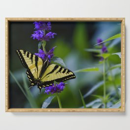 Butterfly on a Purple Flower Serving Tray