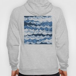 Abstract Blue Sea Waves Design Hoody