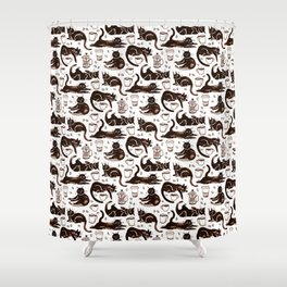 Gouache Black Cats & Coffee Shower Curtain