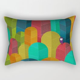078 - Owly visits the poplar forest in autumn I Rectangular Pillow