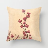 cherry blossoms Throw Pillows featuring cherry blossoms by Iris Lehnhardt