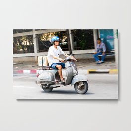 Smoking & Riding a Vespa in Bangkok, Thailand Metal Print