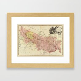 Map of Bengal, Bahar, Oude and Allahabad, India by James Rennell (1786) Framed Art Print
