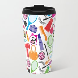 make up collection background (seamless pattern, beauty and makeup design) Travel Mug