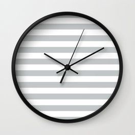 Horizontal Light Grey Stripes Pattern Wall Clock