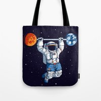 gym Tote Bags featuring Space Gym  by Tobe Fonseca