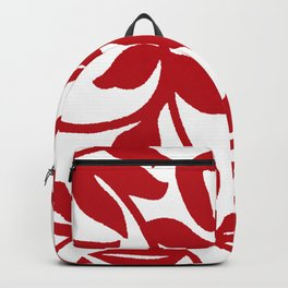 LEAF PALM VINE IN RED AND WHITE PATTERN Backpack