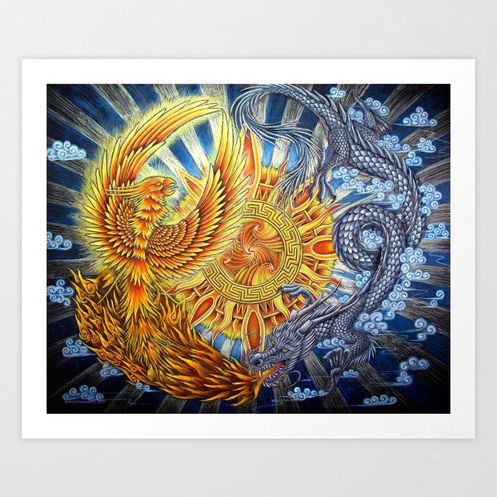 Chinese Phoenix and Dragon Mandala Art Print