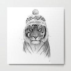 Siberian tiger (b&w) Metal Print