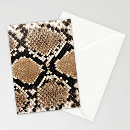 Pastel brown black white snakeskin animal pattern Stationery Cards