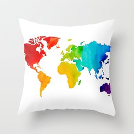 Original Watercolor - Map of The World - Travel Art - Chakra Rainbow Colors Throw Pillow