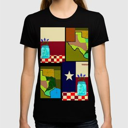 A Texas Quilt, State Flag and Blue Bonnets T-shirt