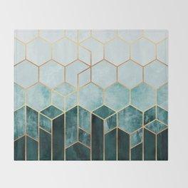 Teal Hexagons Throw Blanket