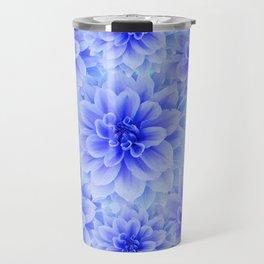 BLUE-WHITE DAHLIA FLOWERS IN  TEAL COLOR Travel Mug