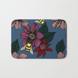 Dark Floral with Bees Bath Mat