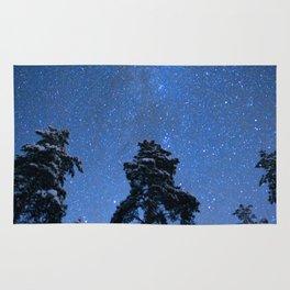 Shimmering Blue Night Sky Stars Rug