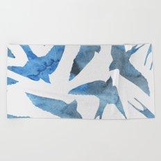 Watercolor birds - sapphire ink Beach Towel