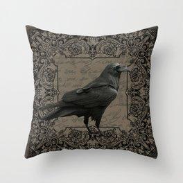 Vintage Halloween raven Throw Pillow