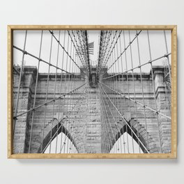 Black and white Brooklyn Bridge | travel photography New York city USA art print Serving Tray