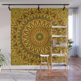 Golden Lace Mandala Pattern Wall Mural