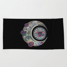 Spiral floral moon Beach Towel