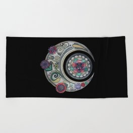 Spiral floral moon Beach Towel