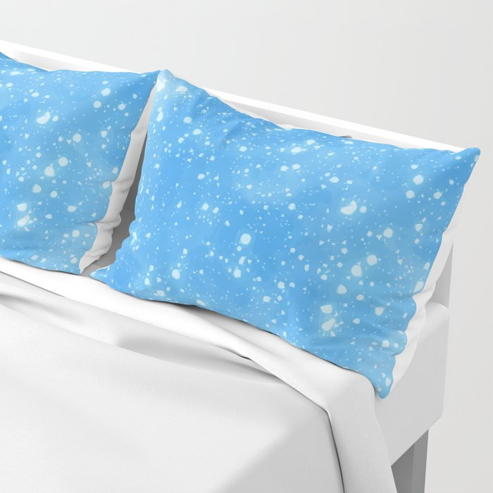Blue Abstract Sky Background With White Snowflake Pillow Sham By Parazitgoodz
