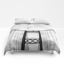 Vintage Monochromatic Black and White Bridge with Clouds Fine Art Print Comforters