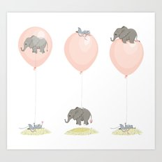Elephant, globe and mouse Art Print