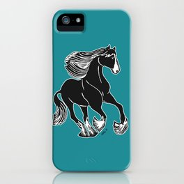 Black & White Horse with Teal iPhone Case