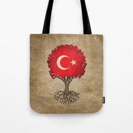 Vintage Tree of Life with Flag of Turkey Tote Bag