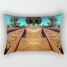 Rails heading to nothing particularly interesting | transportation photography Rectangular Pillow