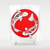 japanese Shower Curtains featuring Japanese Kois by Art & Be
