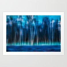 mystic forest - blue Art Print