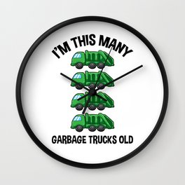 I'm This Many Garbage Trucks Old 4 Birthday Wall Clock