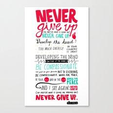 Never Give Up - Dalai Lama XIV Canvas Print