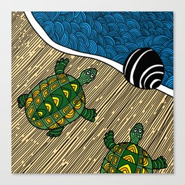 Struggle of the Turtle to the Sea Canvas Print