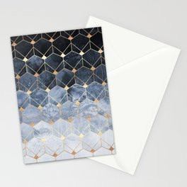Blue Hexagons And Diamonds Stationery Cards