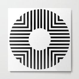 Modern Minimalist Geometric Striped Circle Black & White Metal Print